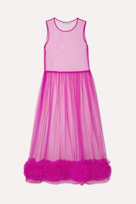 Molly Goddard Alison Ruffled Tulle Midi Dress - Pink