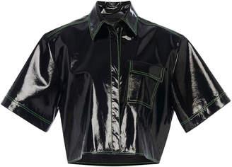 David Koma Boxy Patent Leather Cropped Shirt