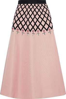 Temperley London Flared Embroidered Cotton-Faille Midi Skirt
