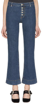 ALEXACHUNG Blue Kick Flare Button Jeans