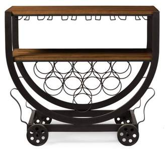 Baxton Studio Triesta Antiqued Vintage Industrial Metal and Wood Wheeled Wine Rack Cart