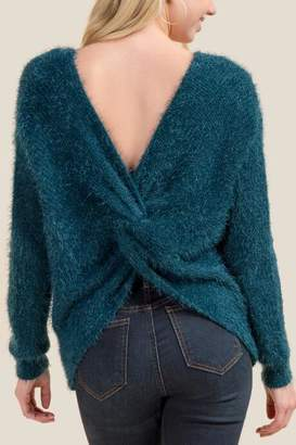 francesca's Nera Knot Back Sweater - Dark Teal