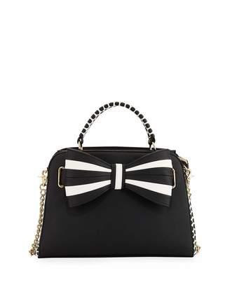 Betsey Johnson 1 2 3 Bow Satchel Bag, Black $95 thestylecure.com