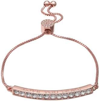 """Brilliance+ Brilliance Rose Gold Tone """"Love You More"""" Adjustable Bracelet with Swarovski Crystals"""