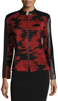 Ming Wang Faux-Leather Trim Knit Jacket, Red/Black $199 thestylecure.com