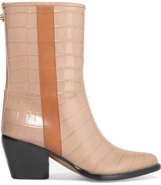 Chloé Vinny Croc-effect Leather Ankle Boots - Neutral