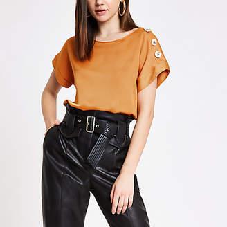 River Island Orange satin short sleeve T-shirt
