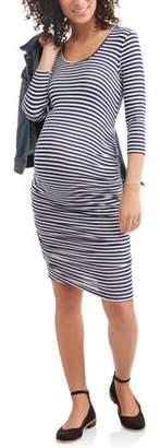 Two Beautiful Maternity Side Ruched Stripe Dress
