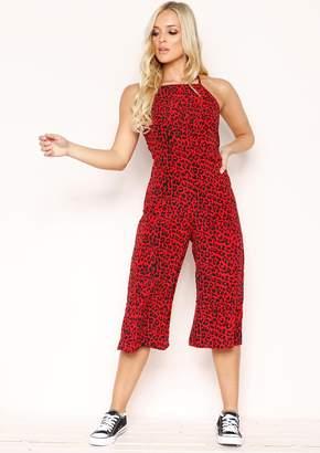 5fc747da35f2 Missy Empire Missyempire Leona Red Leopard Print Tie Up Back Culotte  Jumpsuit