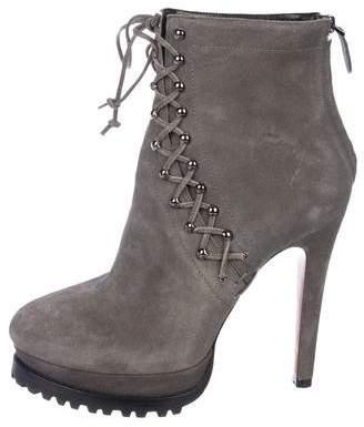 Alaia Platform Suede Ankle Boots