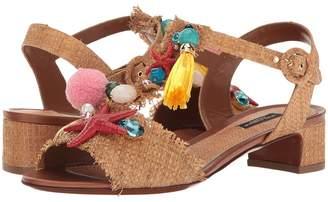 Dolce & Gabbana Raffia T-Strap Sandal with Shells 30mm Women's Sandals