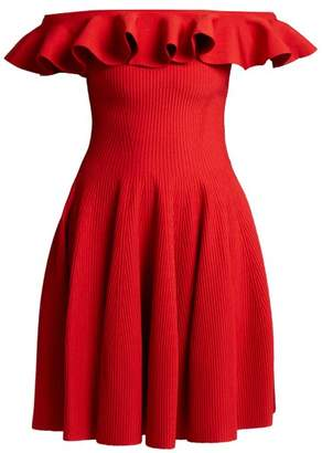 Alexander McQueen Ruffled Off The Shoulder Dress - Womens - Red