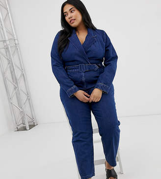 9e4232a3466 Asos DESIGN Curve denim blazer jumpsuit in midwash blue