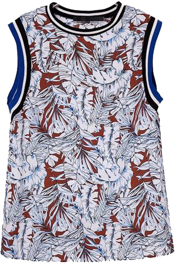 Vintage Abstract Leaf Print Vest
