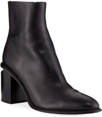 Alexander Wang Anna Block-Heel Leather Booties - Rhodium-Tone Hardware