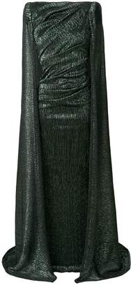 Talbot Runhof laminated cape gown