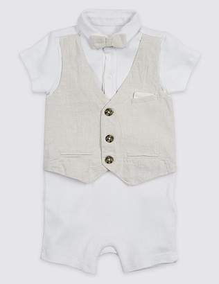 Marks and Spencer 2 Piece Bow Romper & Waistcoat Outfit