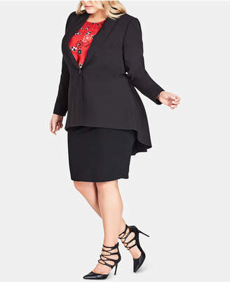 City Chic Trendy Plus Size Pleated Tail-Coat Topper Jacket