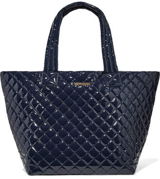MZ Wallace Metro Leather-trimmed Quilted Vinyl Tote - Midnight blue