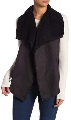 Three Dots Faux Shearling Shawl Collar Vest