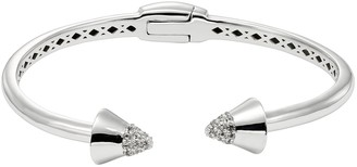 White Topaz Sterling Silver Spike Hinged Cuff Bracelet
