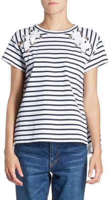 Sacai Lace-Up Grommet Striped Crewneck Short-Sleeve Knit Tee