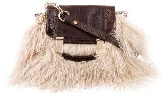 Milly Mongolian Lamb & Patent Leather Shoulder Bag