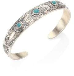 Chan Luu Engraved Silver& Turquoise Cuff Bracelet