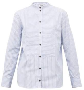 Cefinn - Mandarin Collar Striped Cotton Poplin Shirt - Womens - Blue White