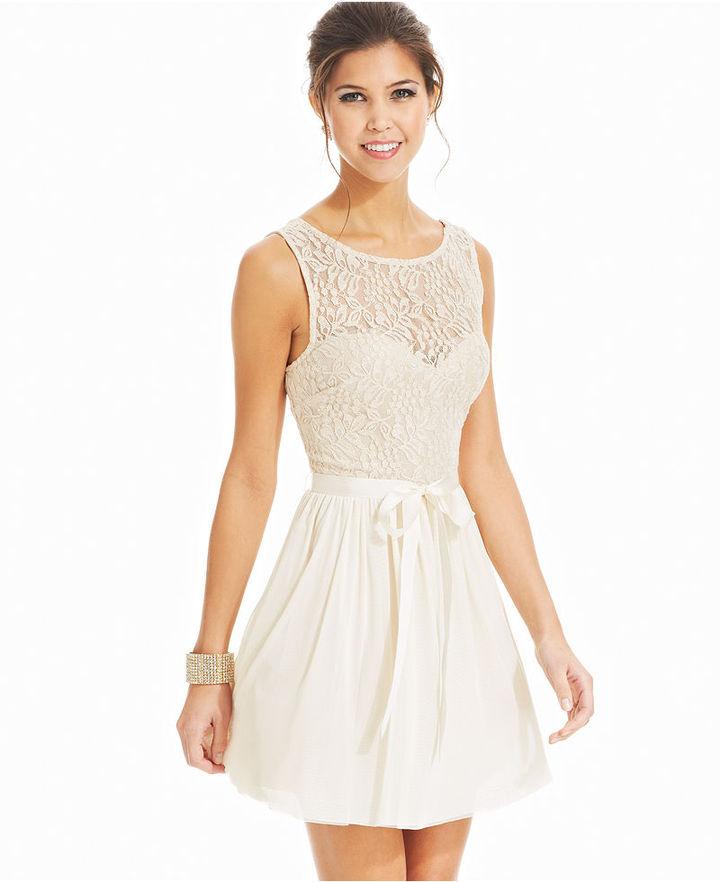 Speechless Juniors Dress, Sleeveless Lace Illusion