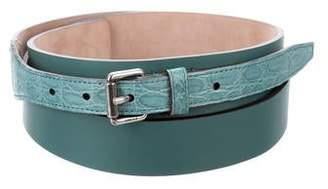 Gucci Leather Crocodile-Trimmed Belt w/ Tags