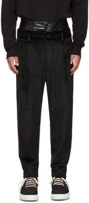 D by D Black Double Waist Velvet Trousers