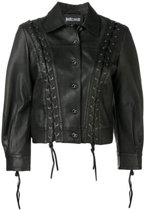 Just Cavalli lace-up detail leather jacket