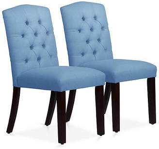 One Kings Lane Set of 2 Lea Tufted Side Chairs - French Blue Linen