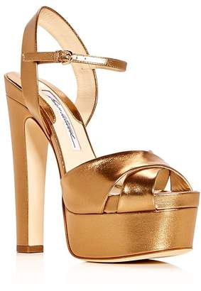 Brian Atwood Women's Madison Leather High Heel Platform Sandals