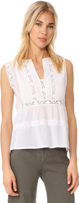Love Sam Sleeveless Lace and Pintuck Blouse $175 thestylecure.com