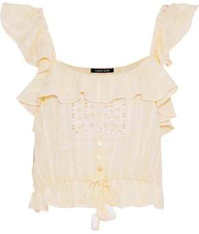 Love Sam Ruffled Embroidered Cotton-gauze Top