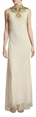 Haute Hippie Mockneck Sleeveless Gown