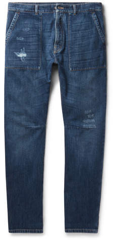 Brunello Cucinelli Slim-Fit Distressed Selvedge Denim Jeans