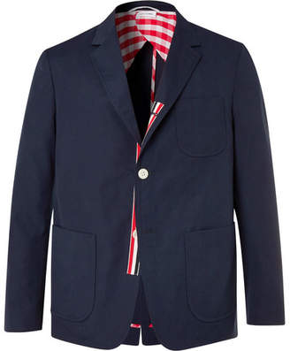 Thom Browne Navy Slim-Fit Unstructured Canvas Suit Jacket