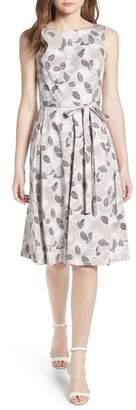 Anne Klein Leaf Print Fit And Flare Dress