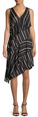 Halston H Sleeveless Asymmetrical Hem Dress