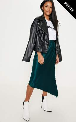 PrettyLittleThing Petite Emerald Green Metallic Pleated Midi Skirt