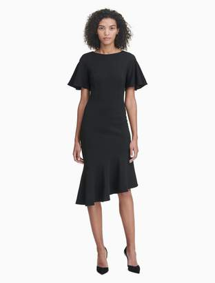 Calvin Klein flutter sleeve ruffle dress