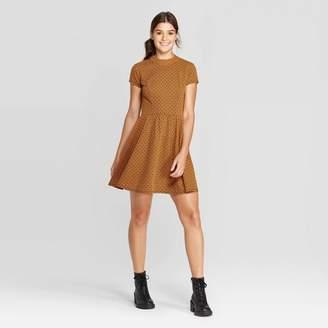 Xhilaration Women's Short Sleeve Mock Turtleneck Knit Mini Dress - XhilarationTM Mustard