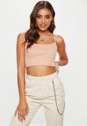 Missguided Pink Ribbed Cami Crop Top
