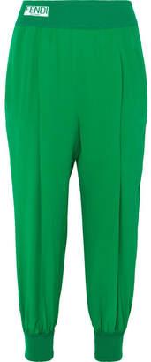 Fendi Striped Silk Crepe De Chine Track Pants - Green