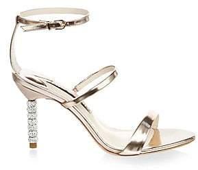 Sophia Webster Women's Rosalind Embellished-Heel Metallic Leather Sandals