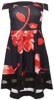 Quiz Curve Black and Red Flower Print Bardot Dip Hem Dress