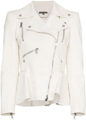 Alexander McQueen zip detail peplum leather biker jacket
